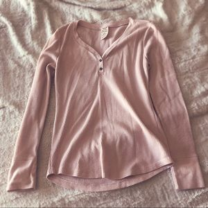 Blush pink thermal with buttons